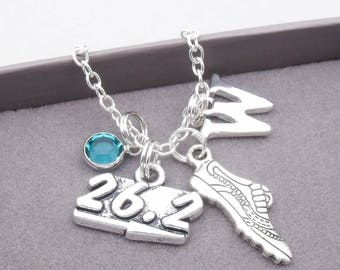Marathon runner monogram necklace | running necklace | marathon pendant | personalised marathon necklace | marathon running jewelry
