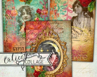 Gypsy Love, imprimable, découpage papier, Boho Chic, éphémères, ordure Journal, taches de journalisation, Scrapbooking, Tags, Pack d'éphémères, Journal l'accrocher