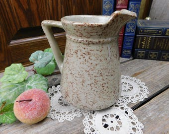 Vintage Primitive Tan and Brown Spatterware Pottery Pitcher