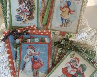 Christmas gift tags, handmade gift tags, vintage christmas tags