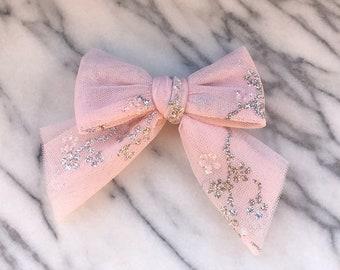 Sofia Tulle Bow, Sparkle Bow, Glitter Bow, Light Pink Bow