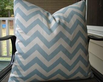 Chevron Pillow Covers One Pair 18 x 18 Light Blue and Off White Pillows Handmade Zig Zag Pillows Home Decor Decorative Throw Pillows