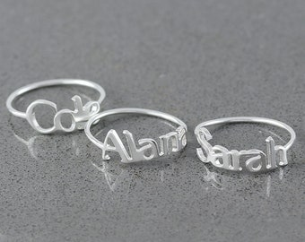 My Name Ring •  Personalized name ring  •  Message ring •  Memorial Initial Ring • Sympathy Gift • Gift for Her ( SMD 27 NW )