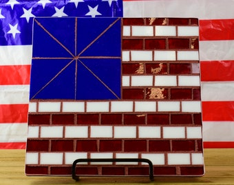 American Flag Mosaic, Red White and Blue Flag, Home Decor,