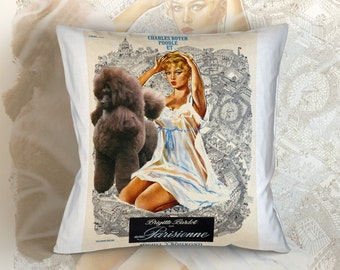 Poodle Art Pillow Case Throw Pillow -  Une Parisienne Movie Poster  Perfect DOG LOVER Gift for Her Gift for Him