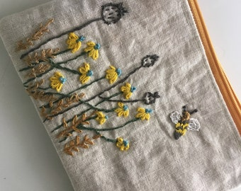 Spring bees hand embroidered zipper pouch, pencil case, makeup bag, gadget case.