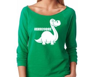 Slouchy Sweatshirt, Vegan Sweater, Herbivore Dinosaur Sweatshirt, Vegetarian Sweater, Brontosaurus, Lightweight 3/4 Sleeve Raw Edge Raglan
