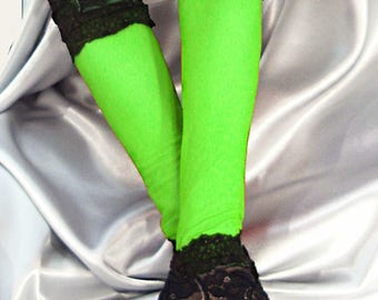 XX long spandex neon green fingerless gloves with black lace cuffs
