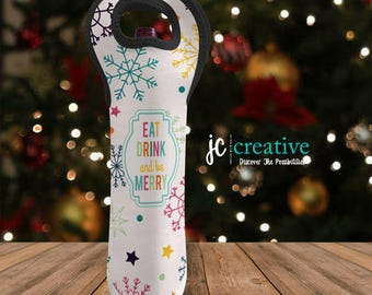 Eat, Drink, & Be Merry Double-Sided Insulated Wine Tote