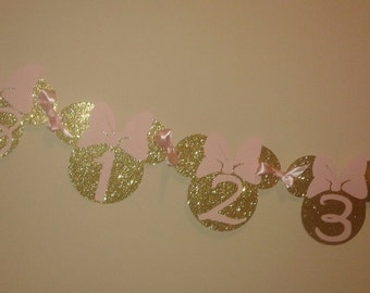 Minnie Mouse 12 Month Banner, Minnie Mouse Banner, Birthday Banner