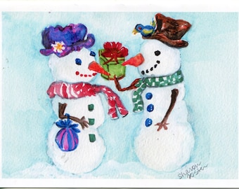 Snow man, snow woman Holiday greeting card, Christmas New Year's blank card, Snow couple card - print from my original watercolor painting