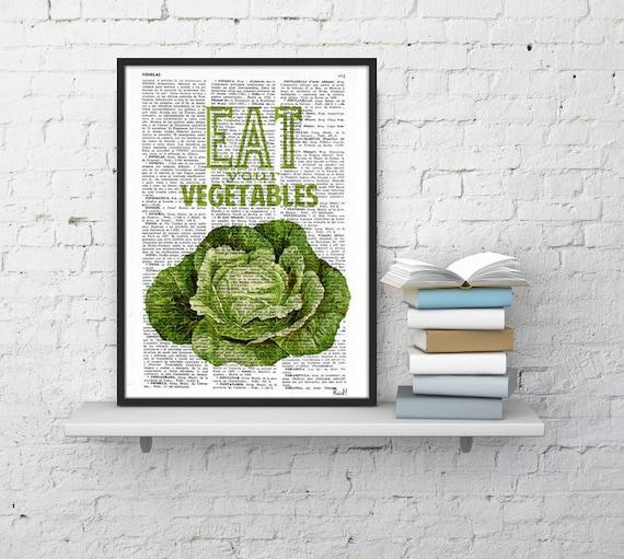 Eat your vegetables sign. Kitchen wall decor, Giclee art, Dictionary art, Veggies print, Wall art, Wall decor, Home decor, Prints, TYQ037