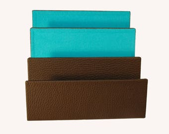 Letter holder Brown/turquoise; Metal core, leather, only available at DIPLOMATofIlja ""