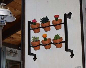 Hanging planter, indoor/outdoor herb garden, Hanging herb garden, fixer upper inspired 6 pot herb garden