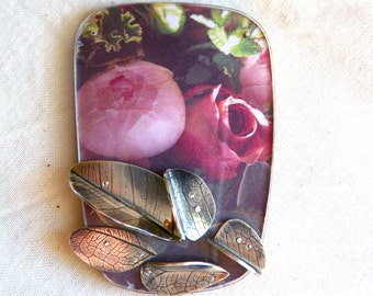Perfect peony and rose brooch for summer by hybrid handmade Cari-Jane Hakes