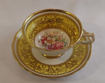 Grosvenor Bone China Yellow Floral Teacup and Saucer- Made in England