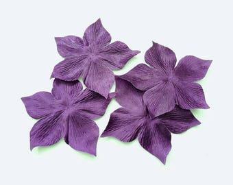 3 flowers in purple silk satin for wedding, scrapbooking, cardmaking, sewing jewelry