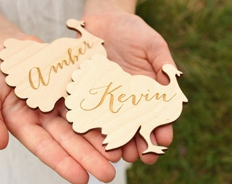 Turkey Placecards Wood Place Cards Thanksgiving Table Setting Turkey Name Cards Turkey Shape Thanksgiving Decor