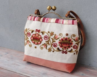 Vintage Embroidery Bag, Boho Floral Bag, Leather, Linen, Kiss-lock, Colorful Bag