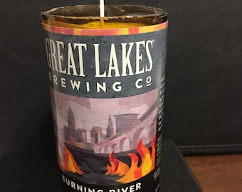 Cinnamon Scented Great Lakes Brewing Co Burning River Beer bottle Candle