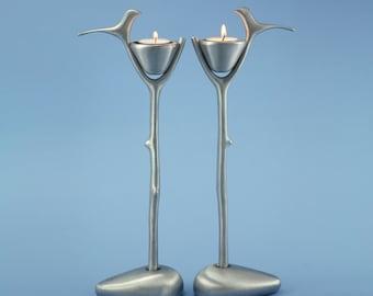 Bird's nest Candle Holder handmade by Shraga Landesman, Judaica, Shabbat, Aluminium cast.