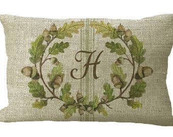 Green Acorn Wreath Monogram with Grainsack Stripe in Choice of 18x12 20x13 22x12 24x16 Inch Pillow Cover