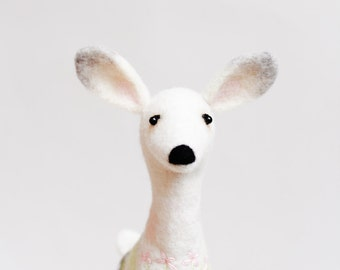 Felt Deer Mothers day gift, Alpine - White Doe, Forest animals organic toy Marionette Stuffed Animal Felted animals soft toy white deer