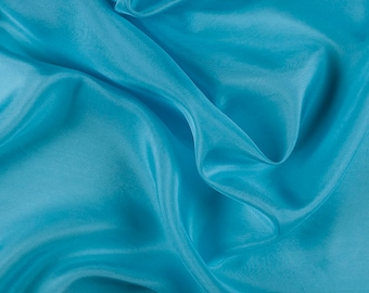 "45"" Wide 100% Silk Crepe de Chine Aqua by the yard (1200M145)"