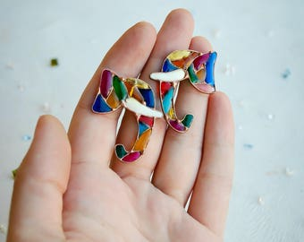 Elephant earrings, Mosaic earrings, Colored earrings, Ganesh earrings, Indian earrings, Vitrage earrings.