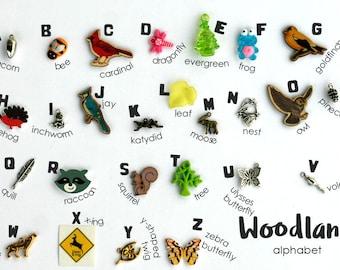 Theme ABC trinkets: Boy/ Girl/ ZOO/ Farm/ Woodland/ On the go/ Pirate/ Christmas/ Halloween for I spy bag/bottle, 1-3cm, 26+ objects