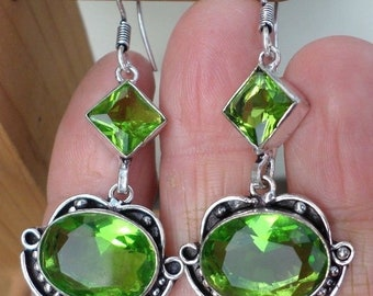 EARRINGS with PERIDOT (BOU8) QUARTZ