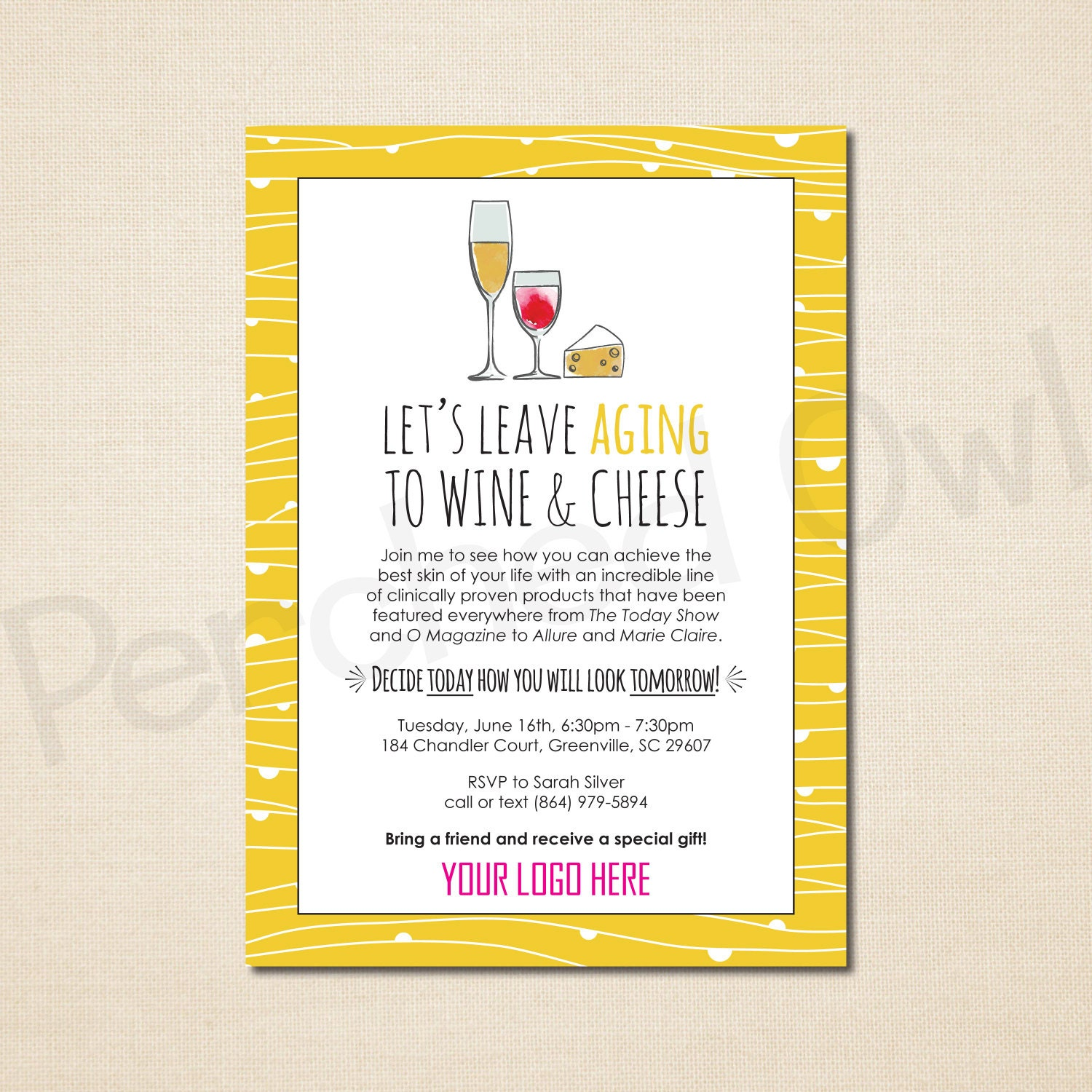 Leave Aging to Wine and Cheese Invitation Direct Selling