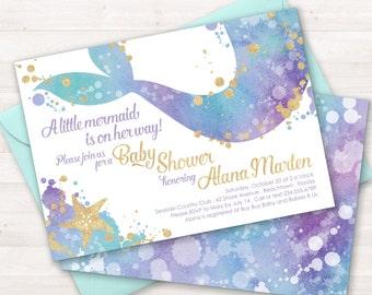 Mermaid Baby Shower Invitation, Mermaid Sprinkle Invitation, Mermaid Shower Invitation, Baby Shower Invite, Little Mermaid, Under Sea Party