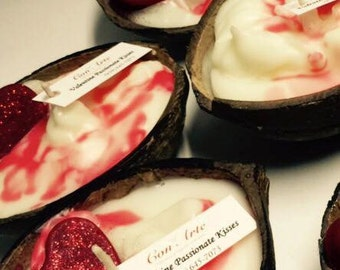 Heart and Love Coconut Shell Candle