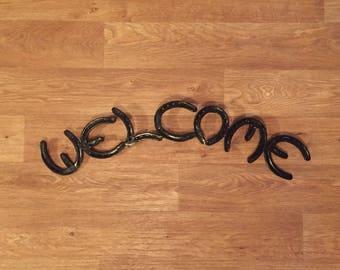 Horseshoe Welcome Sign. Horseshoe Art. Welcome Sign