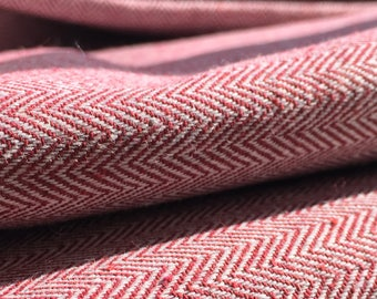 Vintage Fabric / Herringbone / Vintage Cotton / Woven Material / Red, Cream / Patterned Fabric / Tailoring, Dressmaking, Furnishings