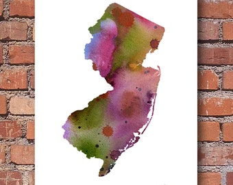 New Jersey  Art Print - State Map - Abstract Watercolor Painting - Wall Decor