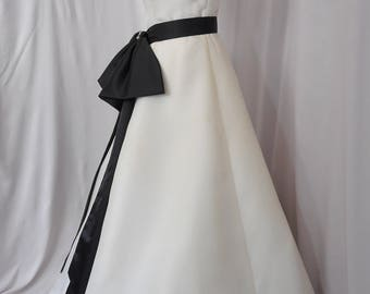 Naughty But Nice! Black Bow and Sash Bridal Accessory for your Wedding Gown Rhinestone Embellishment Separates