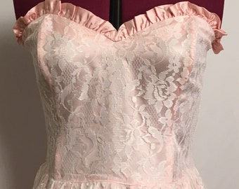 Gunne sax formal pink gown prom sweetheart neck lace sz 13 vintage strapless peach