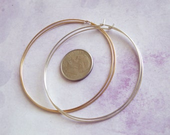 "1-25 pairs, 2"" inch Hoop Earrings, 14k Gold Filled or Sterling Silver / 50 mm Interchangeable Hoops wholesale gfh50 ihl.p bh V1 solo ih"