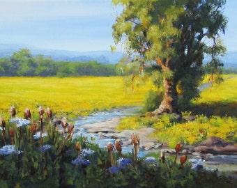 Mustard in Bloom -  Small original summer landscape