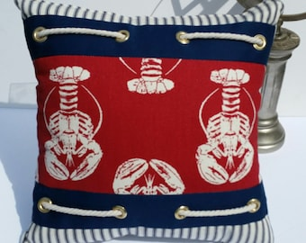 Sale!! Sailboat Pillow Lobster Nautical Throw Pillow Beach Decor Pillow