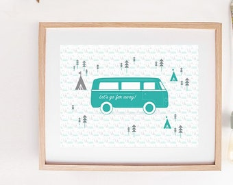 """Graphic poster """"VAN"""" - graphic design poster - travel inspiration - tent - teepee - van - truck"""
