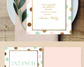 Printable invitation card, designed blank card,digital card,Pink card,gold glitter card,blank card,blank invitation card,mint card design