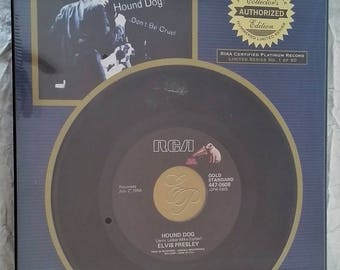 Elvis Presley Platinum Plaque, Hound Dog 45 Record, Limited Collector Series