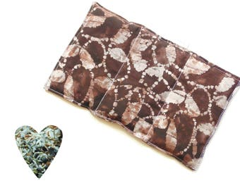 Hot cold pack, microwavable, aromatherapy, microwave heat pack, brown coffee batik, freezer cold pack, flax seed rice lavender buds