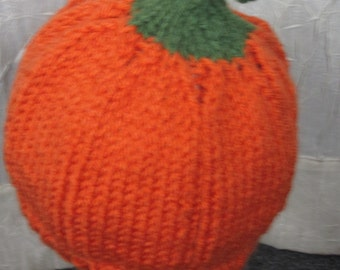 Pumpkin Hat - hand knit using Sayelle (non-wool) yarn for youngsters