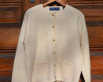 Vintage Boiled wool jacket, woman's large, ivory with gold buttons, woman's medium