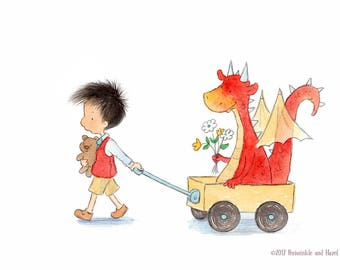 Oslo Catches a Red Dragon - Art Print - Children