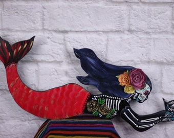 Dia de Los Muertos mermaid/ wood / nautical decor